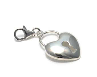 Heart lock Charms pendant made of 925 sterling silver