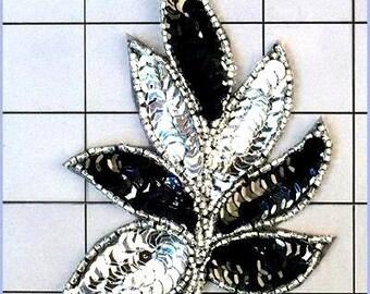 """FS476  Leaf Applique Sequin Silver Black Combo Beaded Motif 4""""   (FS476-slbk)"""