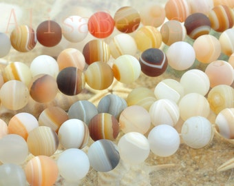 Natural Banded Agate, matte round, beads,10mm,15 inches