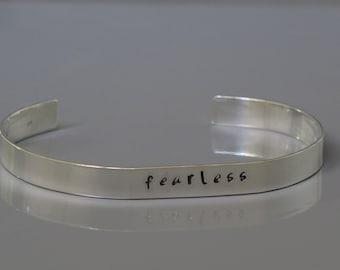 Fearless cuff bracelet, One word bracelet, Sterling silver inspirational cuff bracelet, Hand stamped bracelet, Unisex jewelry