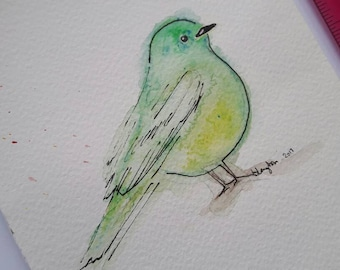 Green bird original illustration Original art by Leeanne Langton