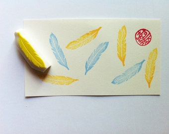 feather rubber stamp | woodland stamp | diy birthday wedding scrapbooking | gift wrapping | nature lover gift | hand carved by talktothesun