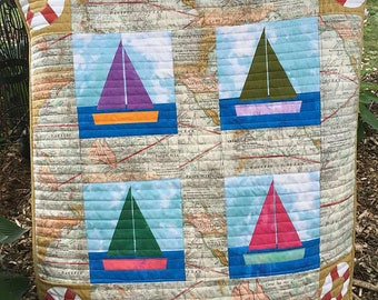 Baby quilt nautical travel maps boats