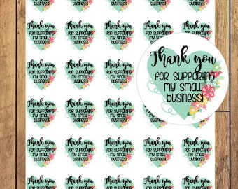 Sticker Sheet | Small Business - Floral Heart Thank You For Supporting My Small Business