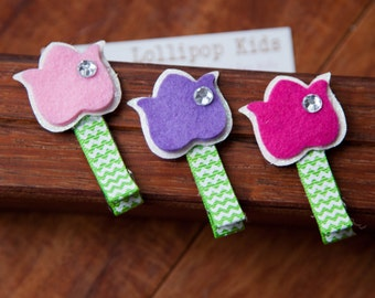 Kids Hair Clips Toddler Hair Clip Baby Hair Clip Infant Hair Clip Kids Hair Clip Felt Tulip Hair Clip Hair Bow