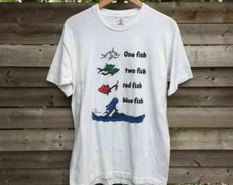 Dr Seuss One Fish Two Fish Red Fish Blue Fish Vintage T-Shirt