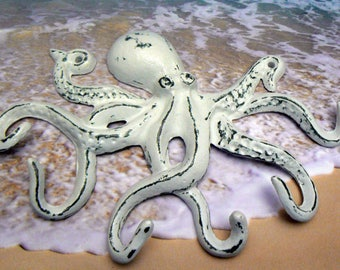 Octopus Cast Iron Tentacle Wall Hook White Shabby Chic Cottage Chic Beach House Home Decor