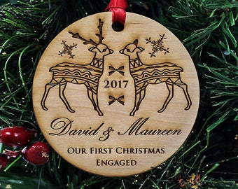 "Engagement Gifts for Couple - Christmas Ornaments Handmade - First Christmas Ornament Married - 1/4"" THICK Premium Alder Wood // SKU# 306"