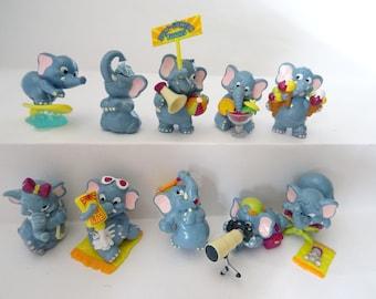 Kinder Surprise Collectible Figures Set ELEPHANTS BEACH 1995  Figurines  Miniatures