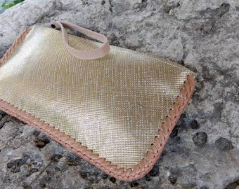 Gold Leather Zippered Wristlet