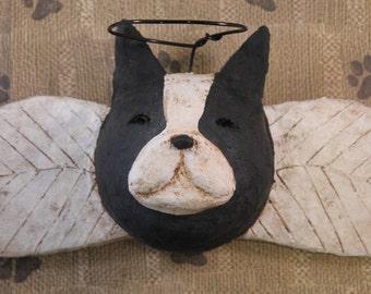 Boston Terrier Angel, OOAK, hand-sculpted from papier mache, BOSTON TERRIER