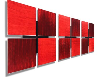Red Contemporary Metal Wall Art, Modern Metal Wall Sculpture, Home and Office Decor, Painted Wall Accent - 3 of a Kind Red by Jon Allen