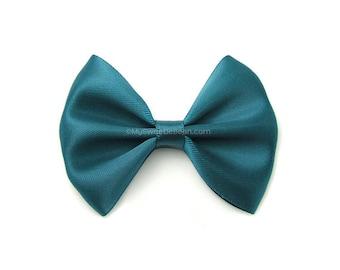 Teal Hair Bow, 3 Inch Bow, Satin Hairbow, Teal Blue, Girls Hairbow, No Slip Basic Bow