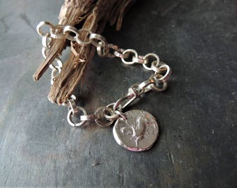 Sterling Silver Link Bracelet, Ancient Coin Silver Replica, Artisan Jewelry, Layering Jewelry, Urban Chic, Pegasus Coin, Fine Silver Chain