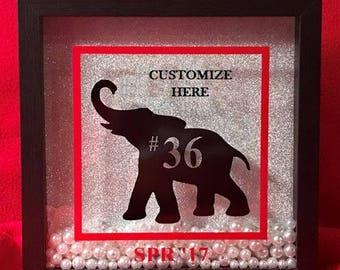 The **ORIGINAL** Personalized Elephant Shadow Box - Delta Sigma Theta Inspired