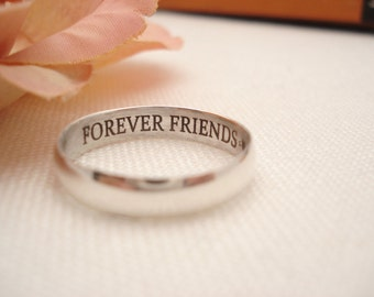 Sterling silver Ring 6mm Band ...Custom Engravable ring, eternity ring, Best friends ring, Promise ring,