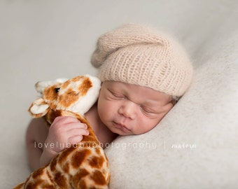 Newborn Slouchy Hat - Taupe - Angora Knit Slouchy Hat - Slouchy Cap - Photography Prop