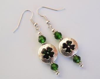 St Patricks Day, Irish, Green, Shamrock, Silver, Earrings, Charm, Handmade, Fashion Jewelry, Lucky, Four Leaf Clover, Ireland