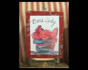 Mini Art, BOSS LADY, ready to ship, Chicken Art, Art Block, Ornament