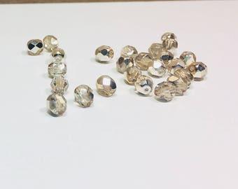 25 Light Gold Half Coated Czech Rounds, 6mm, Light Gold, Half Coated, Round Beads, Rounds, Bead Supply, 25 beads, Czech Beads, Glass