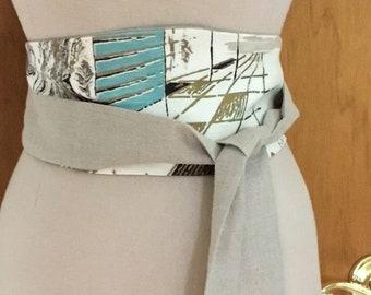 Obi Belt, Wrap Belt, Tie Belt, Obi Sash, Mid Century Modern Belt, Sash, Vintage Fabric