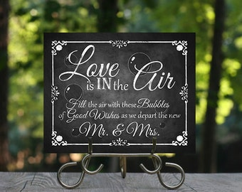 Printable Chalkboard Wedding Bubble send off Sign, Please take one, Wedding Favors, Chalkboard Sign, Wedding Signage, Love is in the Air