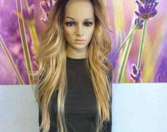 Ombre dark roots To 613 mixed with 27  blonde Lace Front wig heat resistant Wig 24'' layers