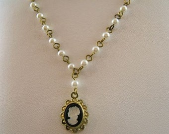 Vintage Cameo Necklace on Glass pearl Rosary Chain - Exclusively Made by SilverCrow - Bargain - Was 12.00