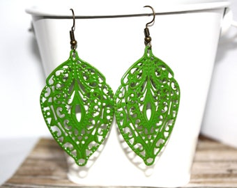 Filigree Earrings, Kelly Green Color, Hand Painted Earrings, Green Colored Jewelry, Statement Earrings