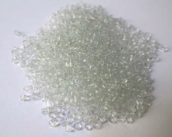 10gr white seed beads transparent glass 2mm (about 800 beads)