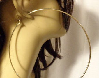 LARGE 6 inch Hoop Earrings GOLD tone Brass Hoop Earrings Classic Thin Design Extra Large