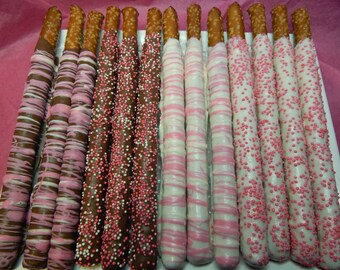 Gourmet Chocolate Covered Valentine Pretzel Rods - with Pink & White Sprinkles