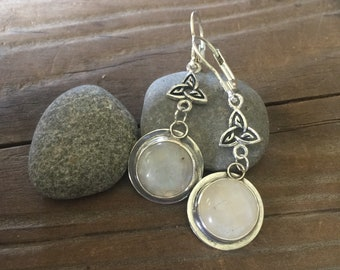Celtic Moonstone dangle earrings