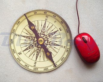 Vintage Compass Pattern Mousepad, Office Mousepad, Computer Mouse Pad, Fabric Mousepad