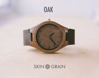 Men Watches, Mens Wood Gift, Hand Made Mens Watch, Wood Face Watch, Montre Homme, Gift for Dad Bday, Gift For godmother- Oak