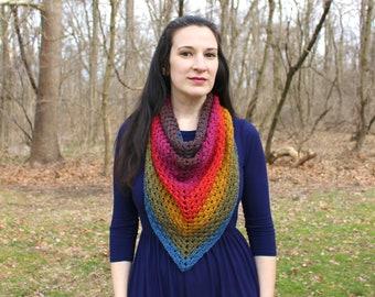 Crochet triangle scarf - blanket scarf - triangle shawl - crochet shawl - crochet scarf - rainbow