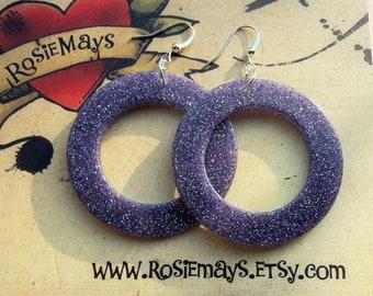 Purple Glitter Hoop Earrings, Lucite Inspired Hoops, Rockabilly, Pin Up, Mid Century Style.