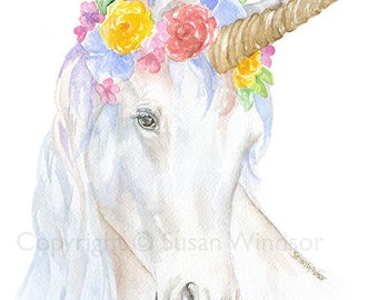 Unicorn with a Floral Crown Watercolor Painting - 5 x 7  - Giclee Print Reproduction- Nursery Art Girls Room Decor