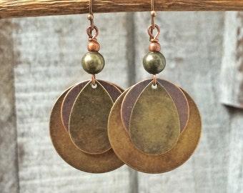 Mixed metal earrings, boho dangle earrings, geometric earrings, geometric jewelry, boho jewelry, bohemian earrings, mixed metal jewelry