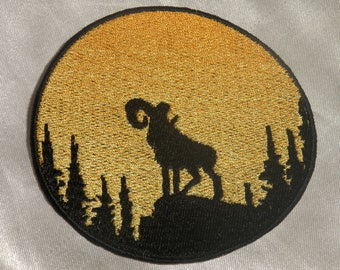 Embroidered Sunset Bighorn Sheep Ram Silhouette Ombre Circle Patch Iron On Sew On USA