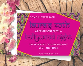 Bollywood Inspired Personalised Party Invitation - Digital File