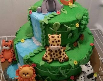 Jungle Safari cake topper set