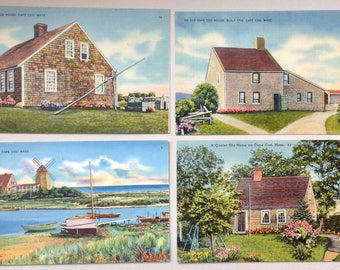 Cape Cod, Vintage Postcards, 1930's,  Post cards, Lot of four, Cape Cod Houses, Cape Cod Souvenir, Cape Cod kitsch