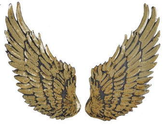 "Gold Sequins Wing Mirror Pair Iron-on Heat Transfer Patch Applique by 1 pair, 10-1/2"" x 5"", TR-11190"