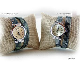 Womens wrap wrist watch grey silver - layered watch - gift for her girlfriend wife sister best friend