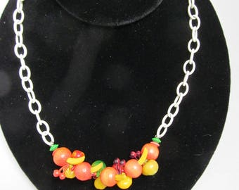 Vintage Fruit Salad Necklace on White Chain
