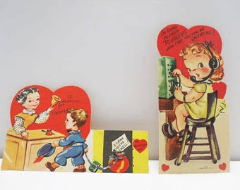 Two Children's Valentine's Day Cards / Litho / Teacher Valentine's Card / Unused Cards