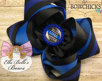 Blue Lives Matter Triple Stacked Bow~ classic stacked bow, blue lives matter hairbow