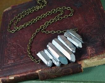 Silver Titanium Quartz Crystal Row Necklace Electroplated Quartz Crystal Points Brass Necklace