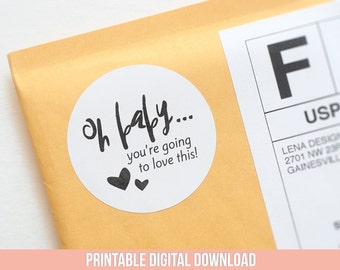 Printable Stickers - Oh Baby - Packaging Supplies - Oh Baby Baby Shower - Pretty Packaging - Baby Shower Tags - Product Packaging Stickers